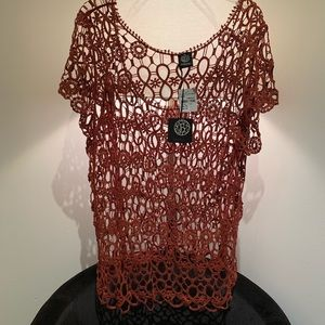 ♥️ Bobbeau  Crochet Sheer Plus Size Top with tags